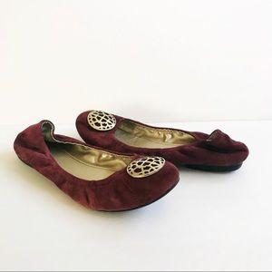 "Tahari ""Katrina"" Ballet Flats Burgundy Suede S-8m"